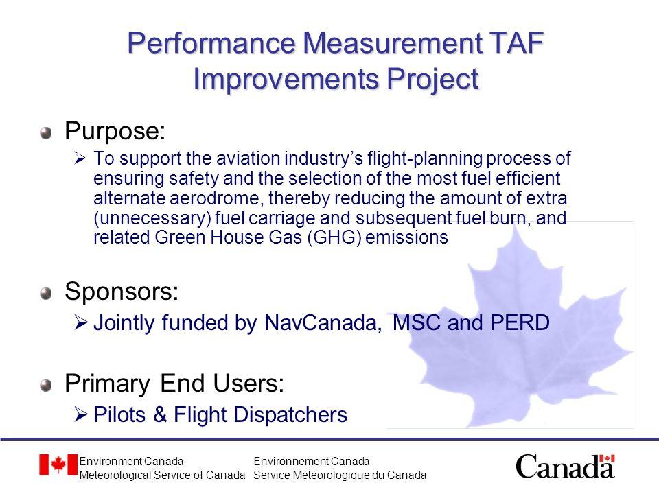 Performance Measurement TAF Improvements Project