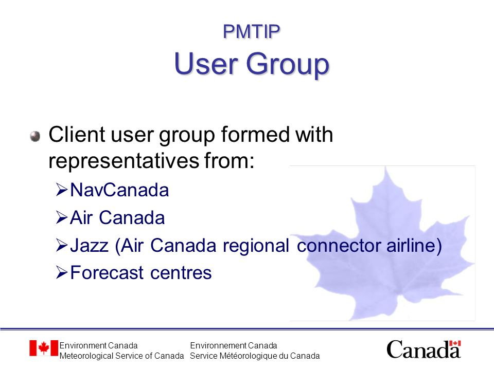 Client user group formed with representatives from: