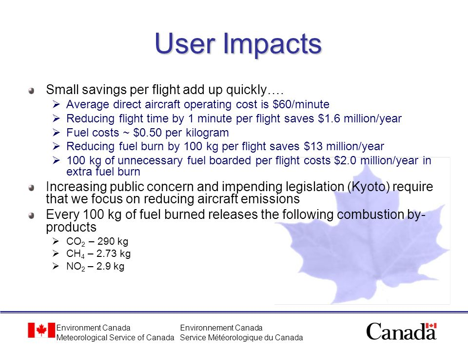 User Impacts Small savings per flight add up quickly….