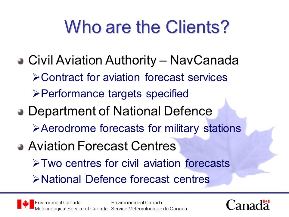 Who are the Clients Civil Aviation Authority – NavCanada