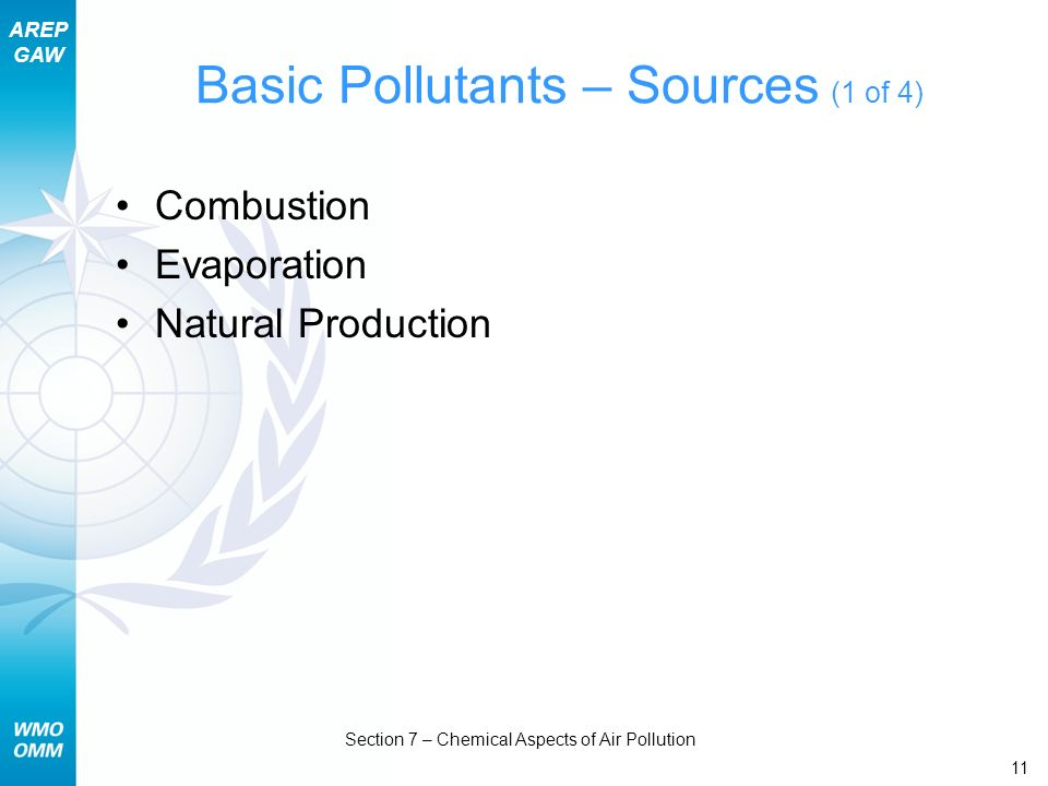 Basic Pollutants – Sources (1 of 4)