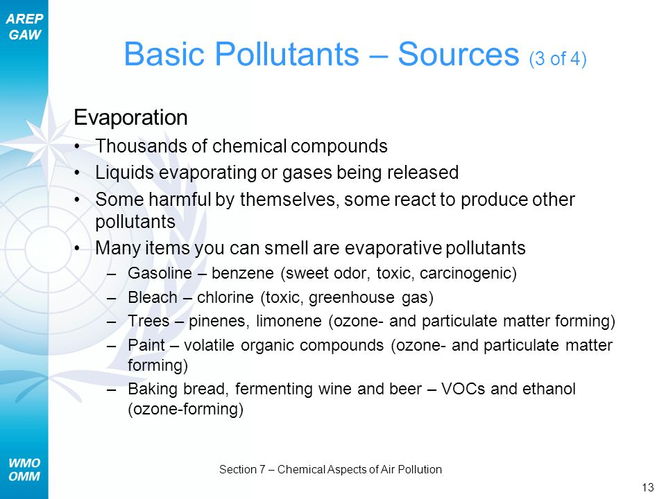 Basic Pollutants – Sources (3 of 4)