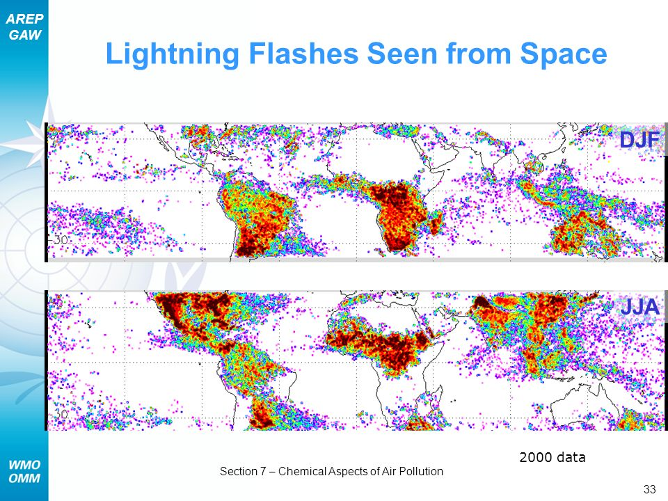 Lightning Flashes Seen from Space