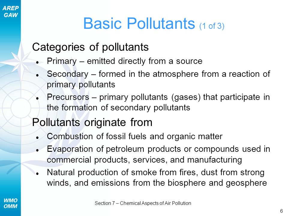 Section 7 – Chemical Aspects of Air Pollution