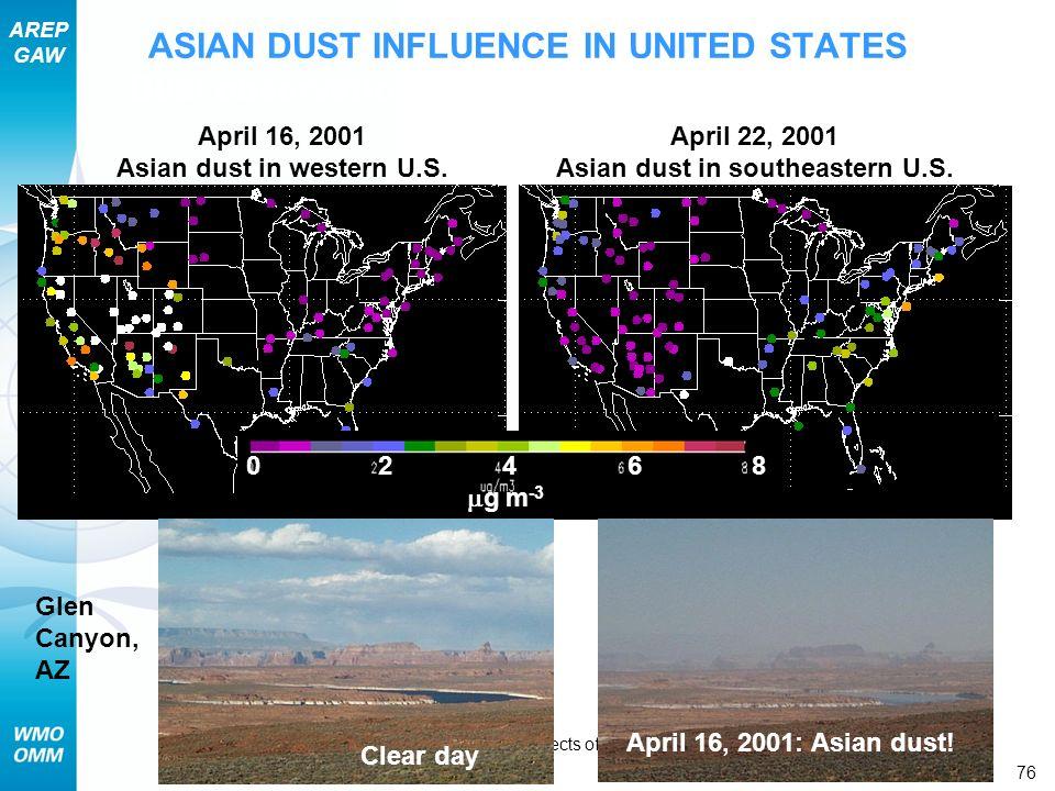 Asian dust in western U.S. Asian dust in southeastern U.S.