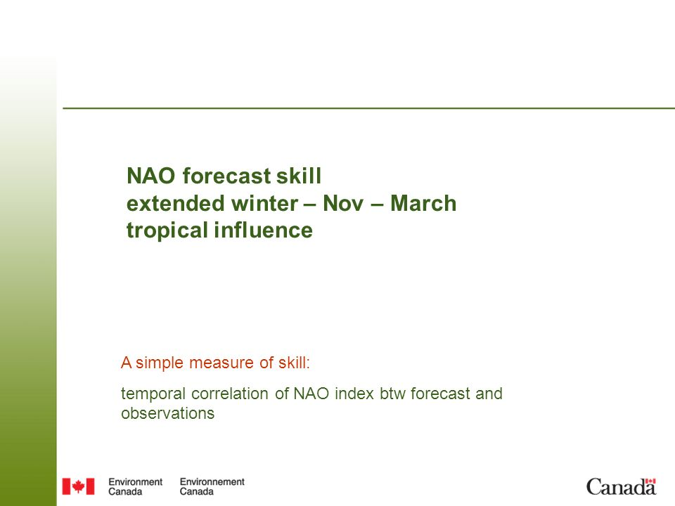 NAO forecast skill extended winter – Nov – March tropical influence