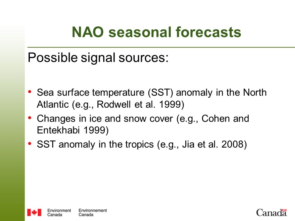 NAO seasonal forecasts