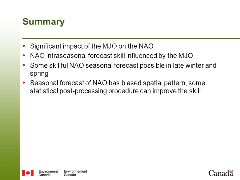 Summary Significant impact of the MJO on the NAO