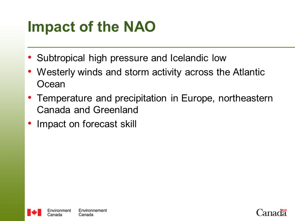 Impact of the NAO Subtropical high pressure and Icelandic low