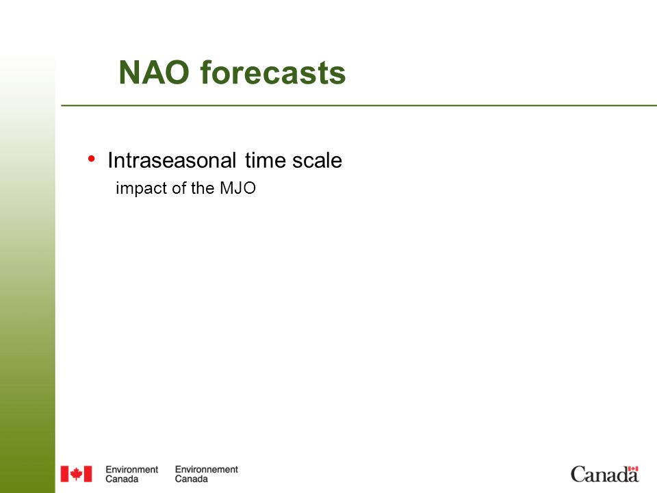 NAO forecasts Intraseasonal time scale impact of the MJO