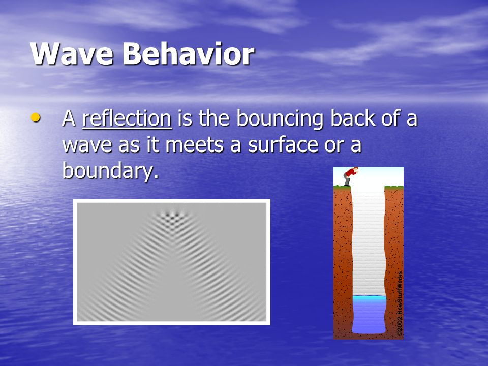 Wave Behavior A reflection is the bouncing back of a wave as it meets a surface or a boundary.