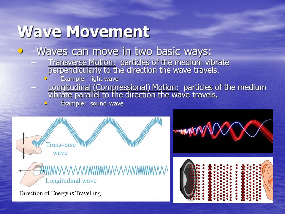 Wave Movement Waves can move in two basic ways: