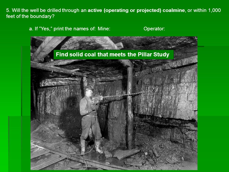 Find solid coal that meets the Pillar Study