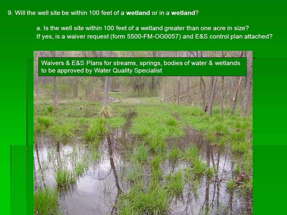 9. Will the well site be within 100 feet of a wetland or in a wetland
