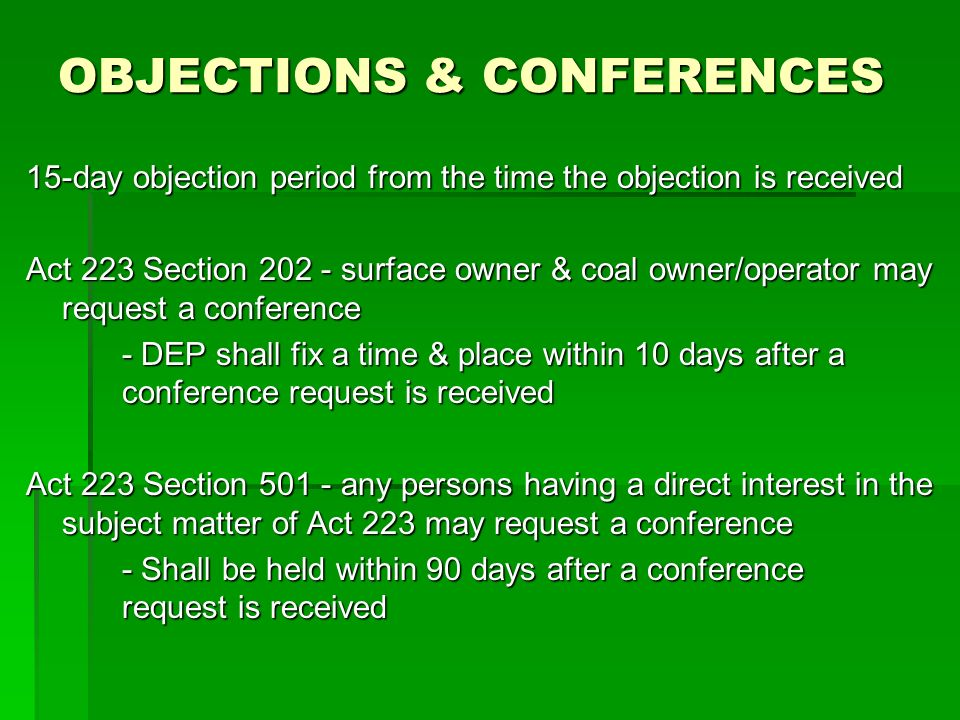 OBJECTIONS & CONFERENCES