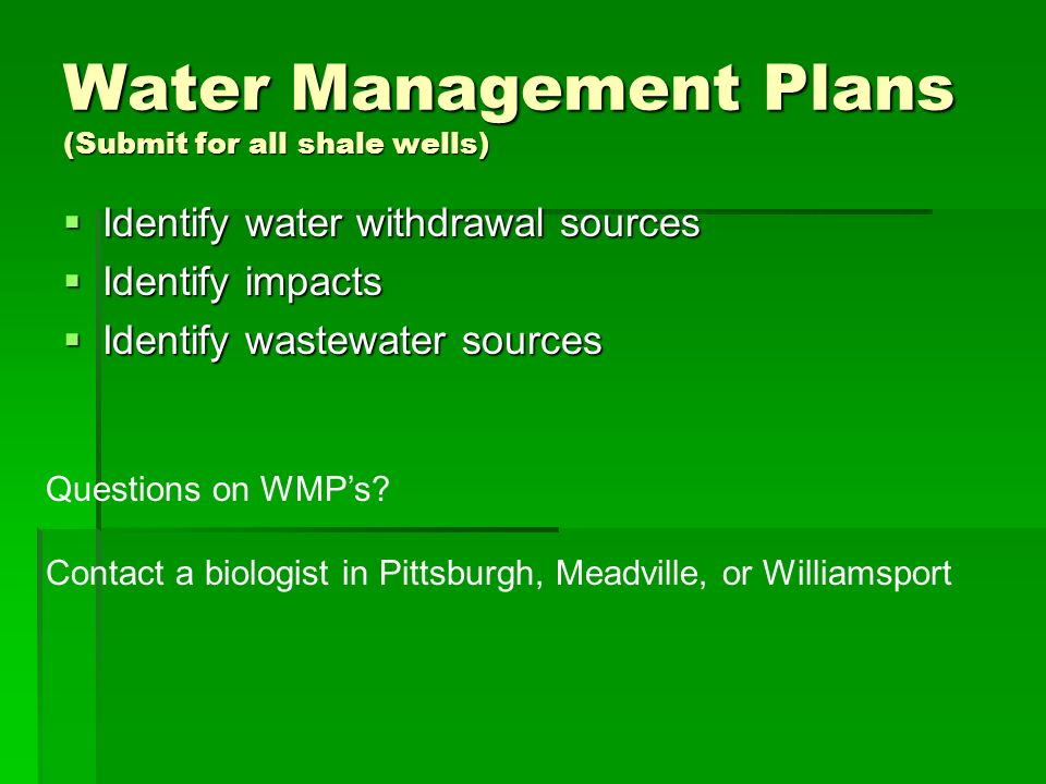 Water Management Plans (Submit for all shale wells)