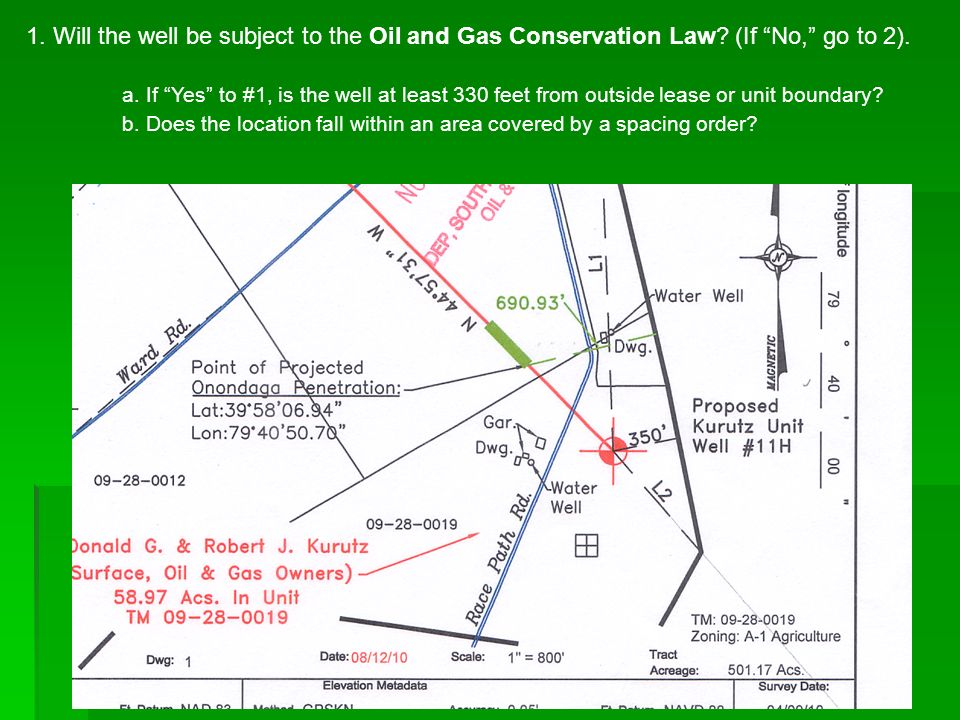 1. Will the well be subject to the Oil and Gas Conservation Law