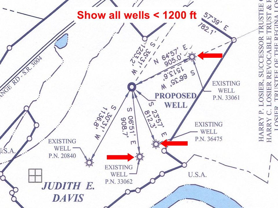 Show all wells < 1200 ft
