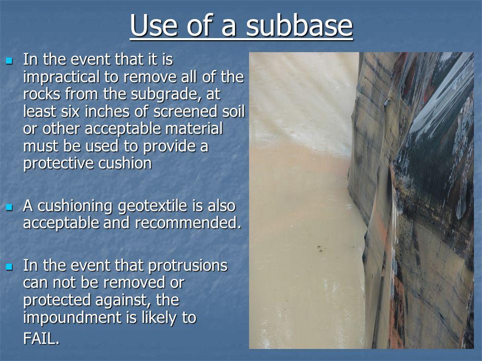 Use of a subbase