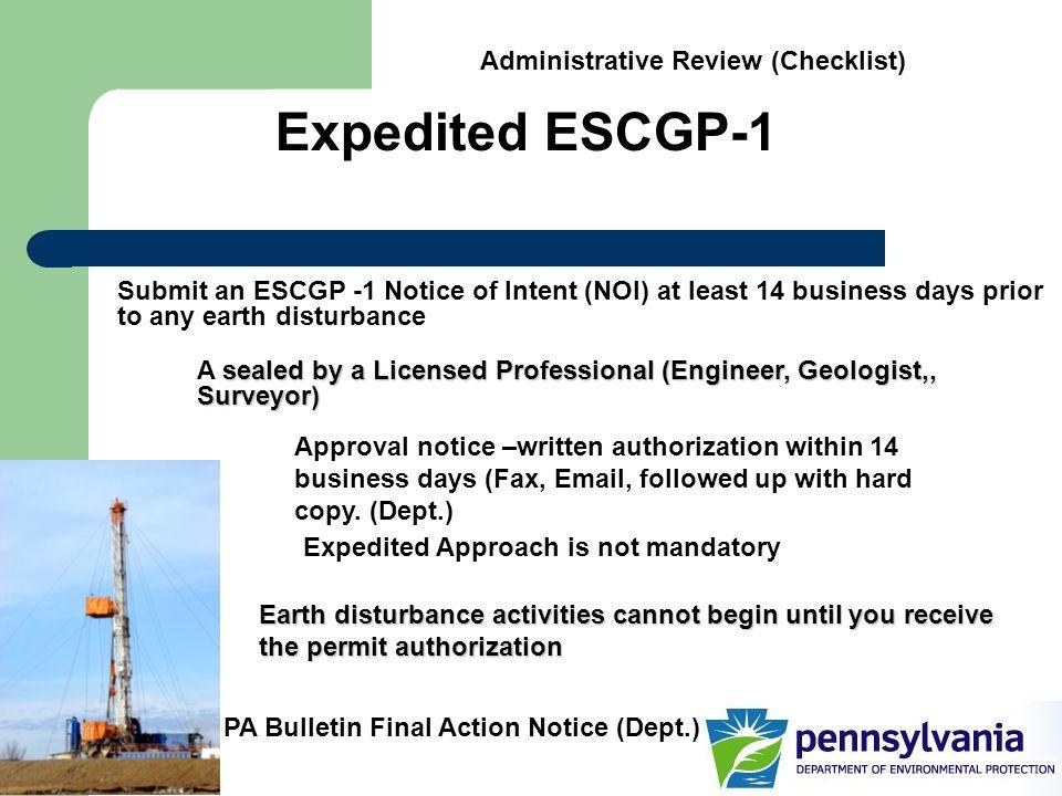 Expedited ESCGP-1 Administrative Review (Checklist)