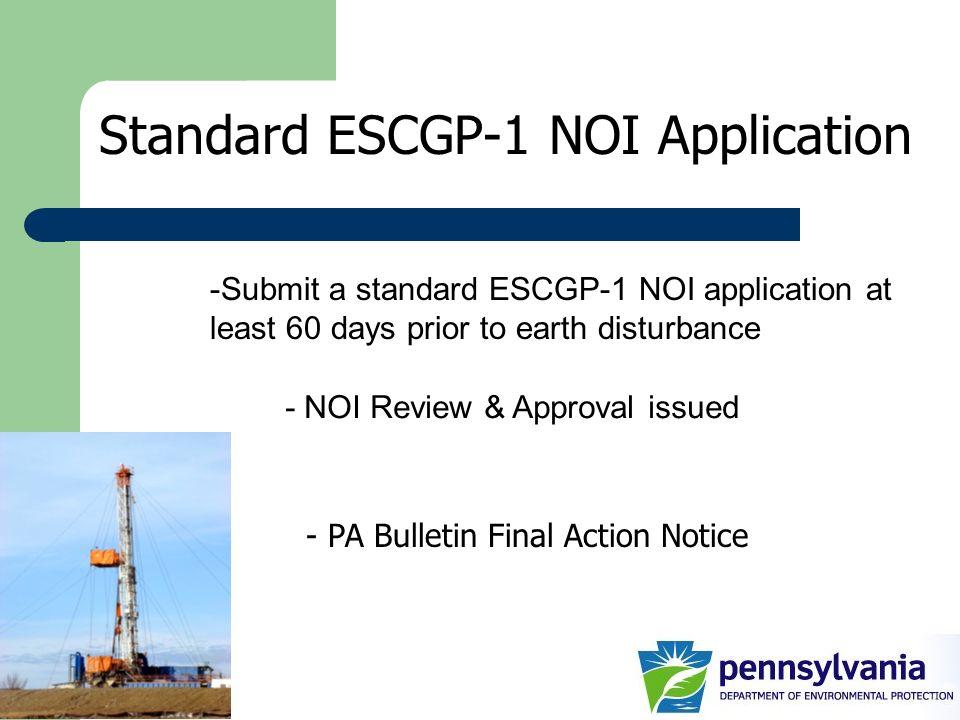 Standard ESCGP-1 NOI Application