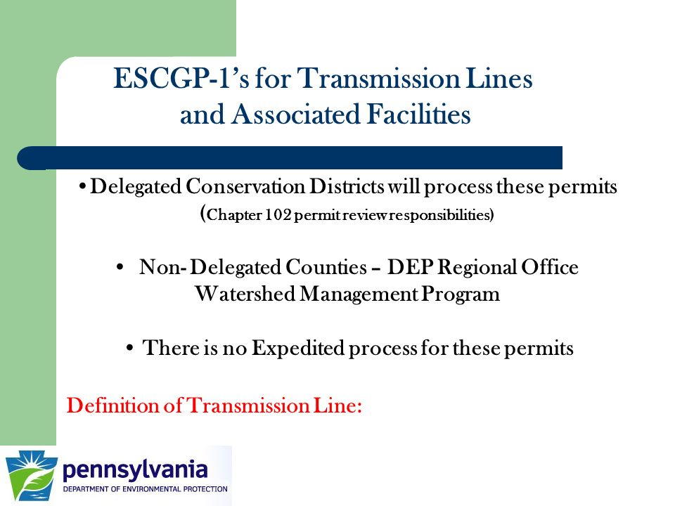 ESCGP-1's for Transmission Lines and Associated Facilities