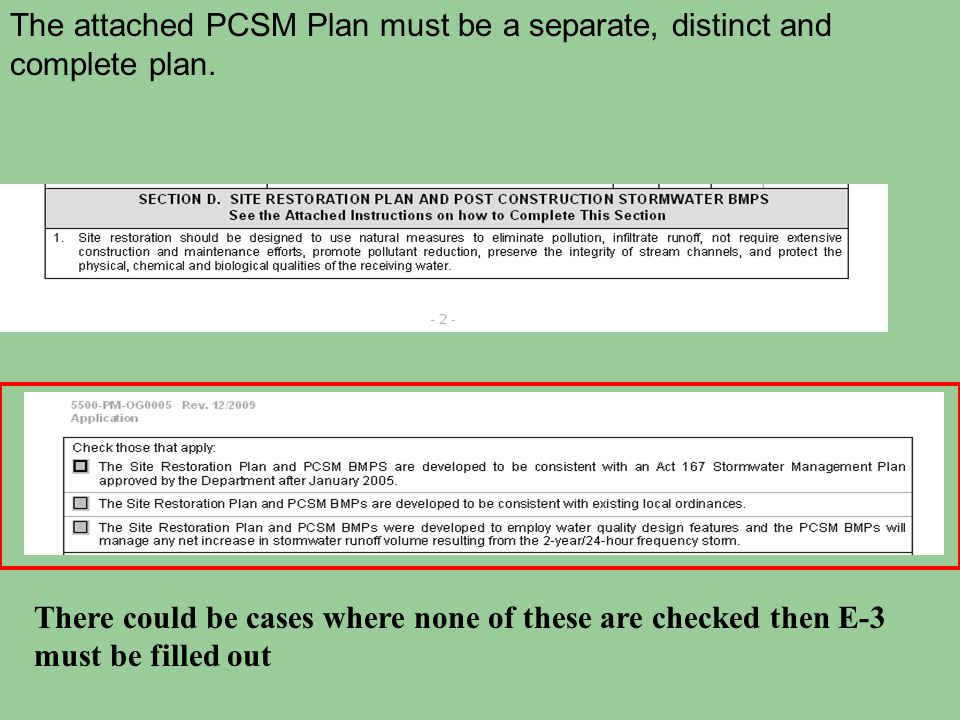 The attached PCSM Plan must be a separate, distinct and complete plan.