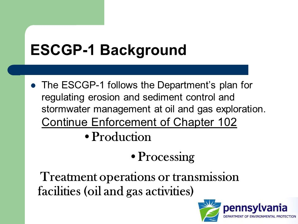 ESCGP-1 Background Production Processing
