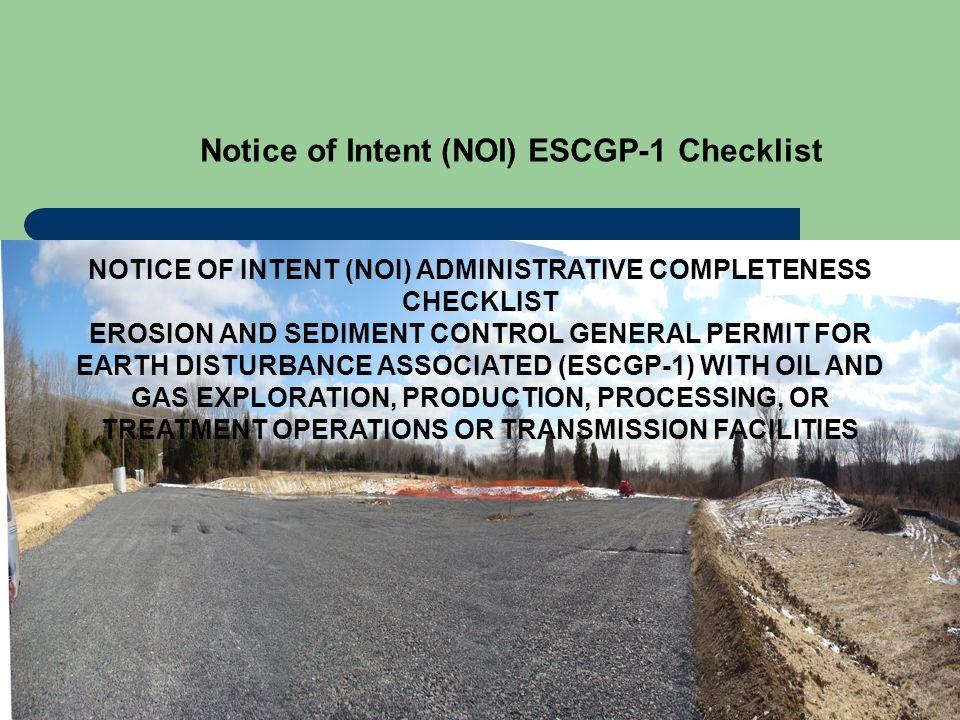 Notice of Intent (NOI) ESCGP-1 Checklist