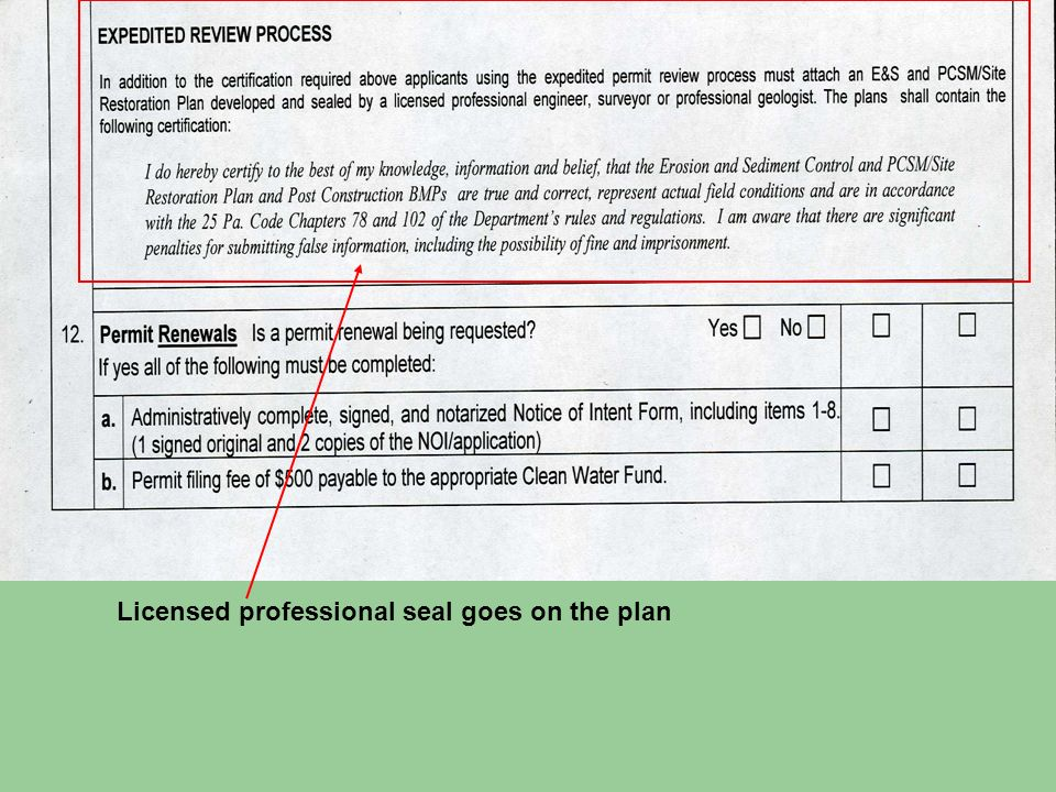 Licensed professional seal goes on the plan