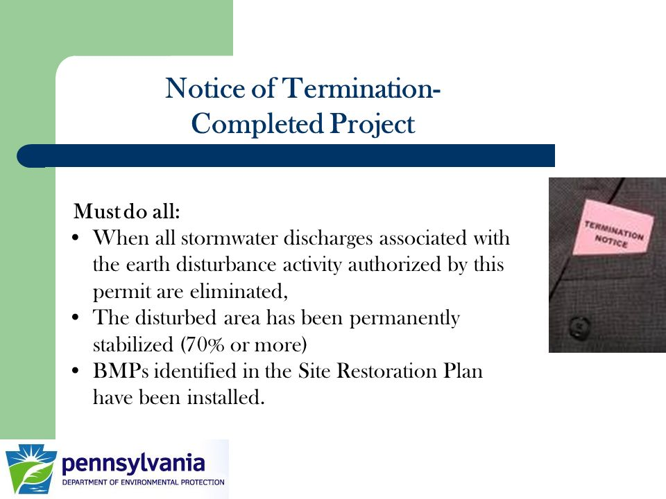 Notice of Termination-Completed Project