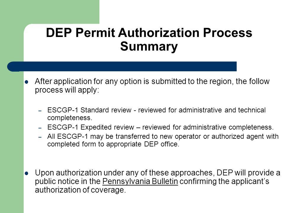 DEP Permit Authorization Process Summary