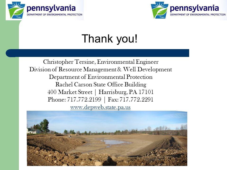 Thank you! Christopher Tersine, Environmental Engineer