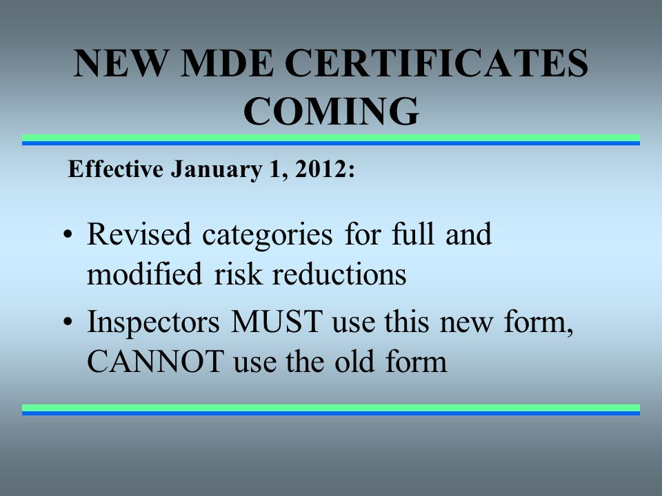 NEW MDE CERTIFICATES COMING