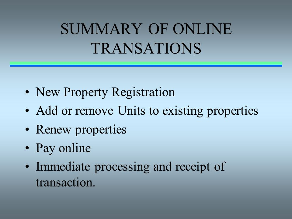 SUMMARY OF ONLINE TRANSATIONS