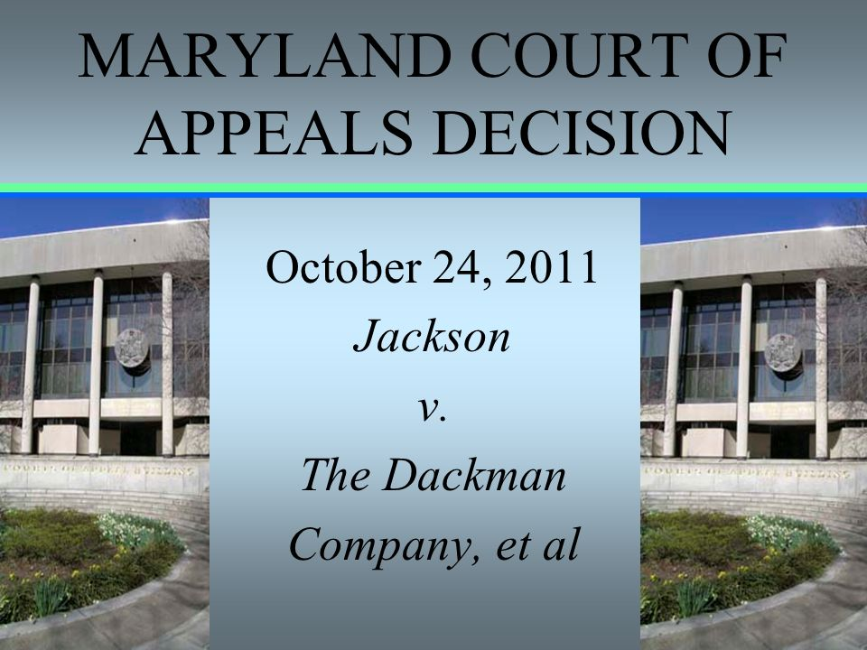 MARYLAND COURT OF APPEALS DECISION