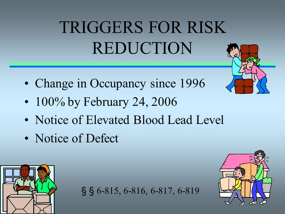 TRIGGERS FOR RISK REDUCTION