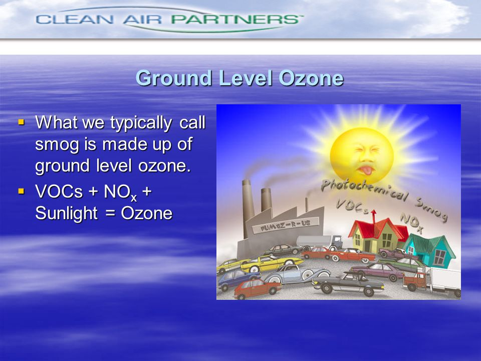 Ground Level Ozone What we typically call smog is made up of ground level ozone.