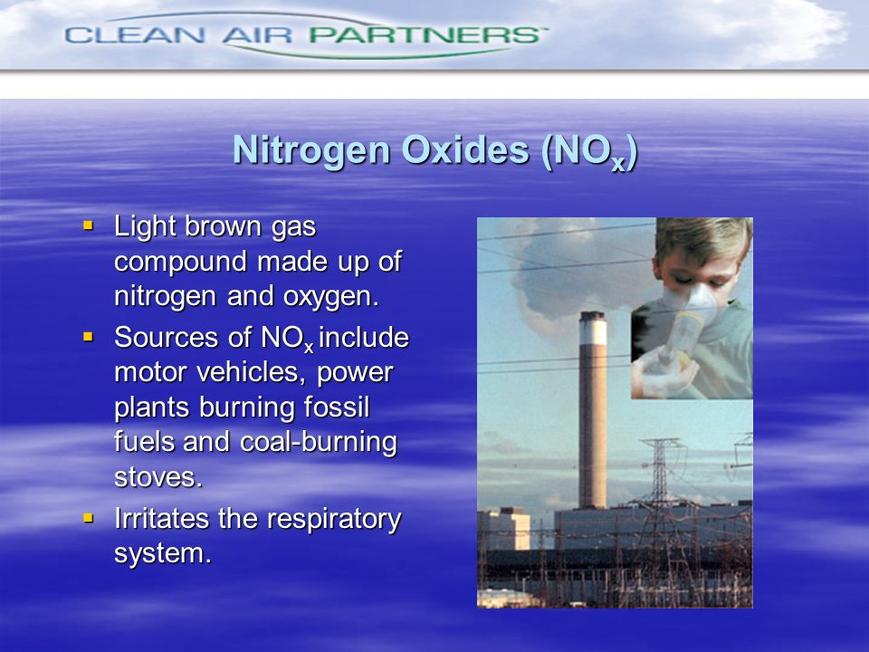 Nitrogen Oxides (NOx)Light brown gas compound made up of nitrogen and oxygen.