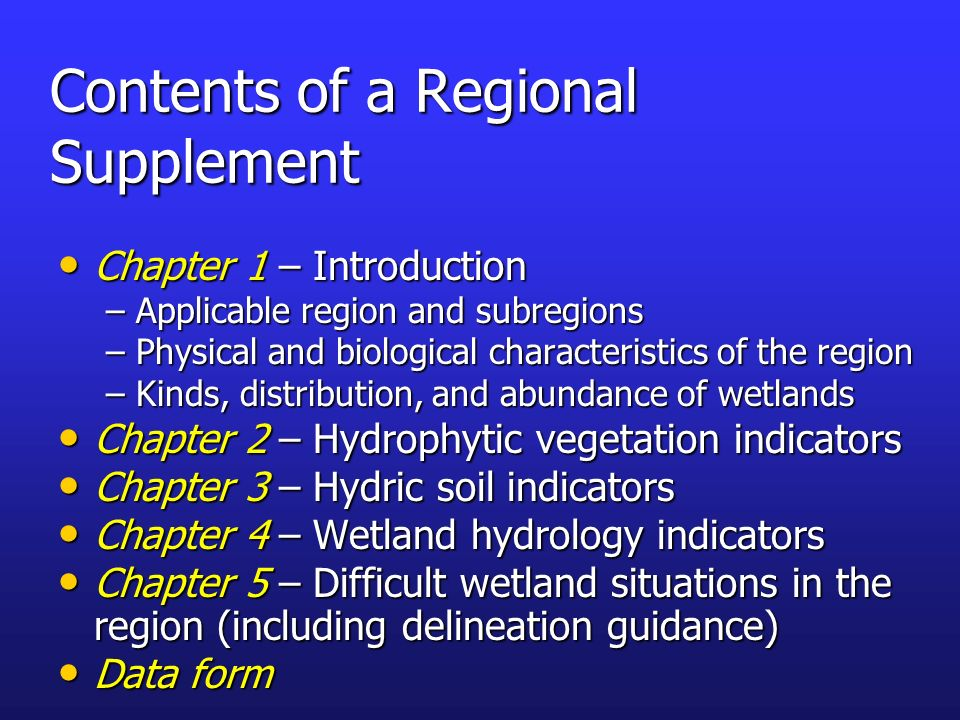 Contents of a Regional Supplement