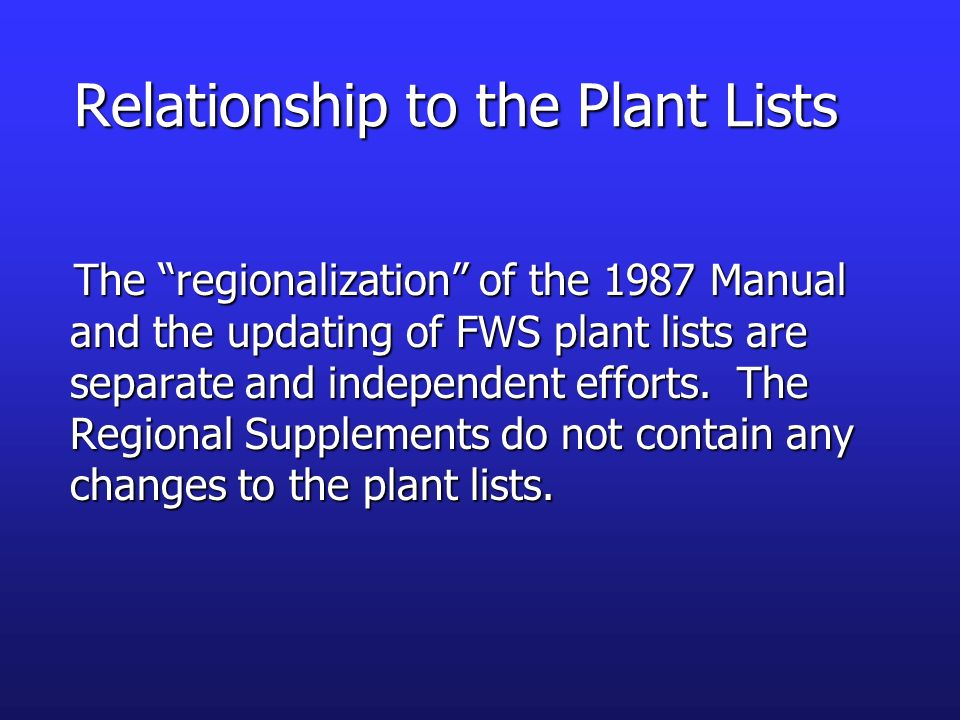 Relationship to the Plant Lists