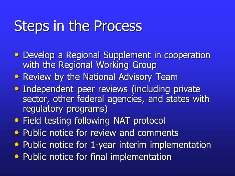 Steps in the Process Develop a Regional Supplement in cooperation with the Regional Working Group. Review by the National Advisory Team.