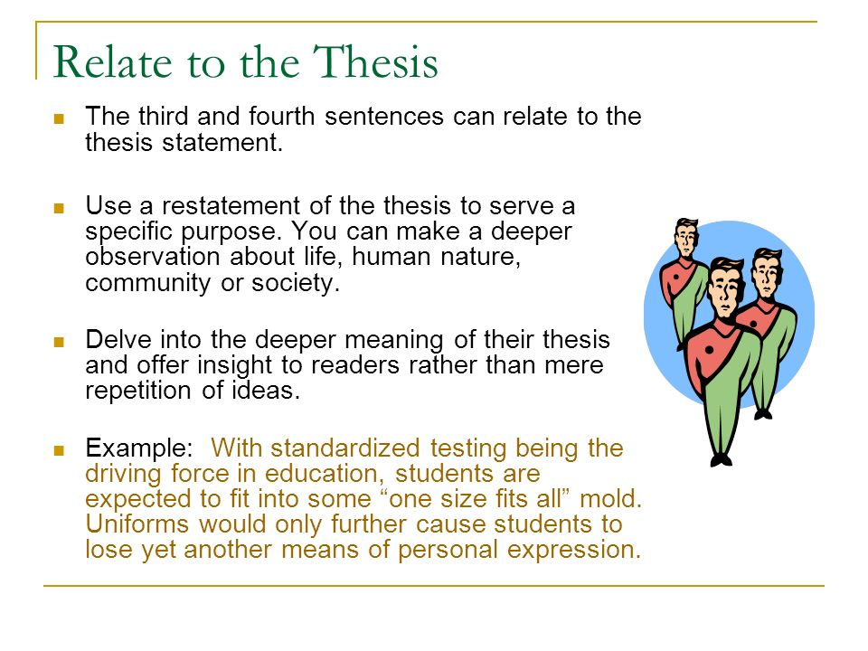 two sentence thesis statements A thesis statement is one sentence that expresses the main idea of a research paper or essay it makes a claim, directly answering a question a thesis statement must be very specific, indicating statements that are about to be made in your paper and supported by specific evidence.