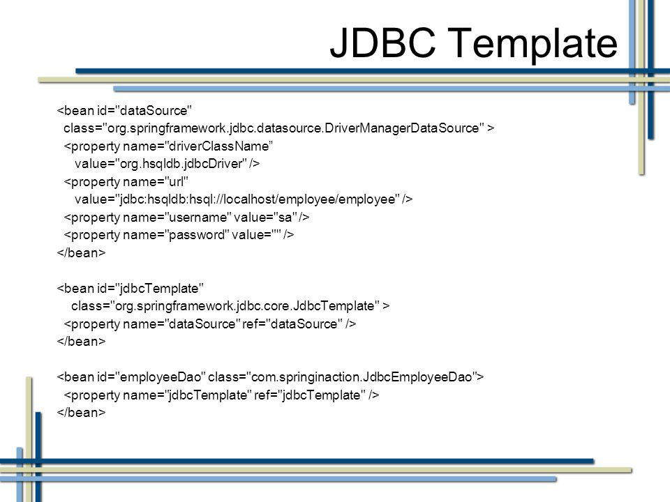 Spring jdbc template tutorial java code review template 15 for Jdbc template in spring