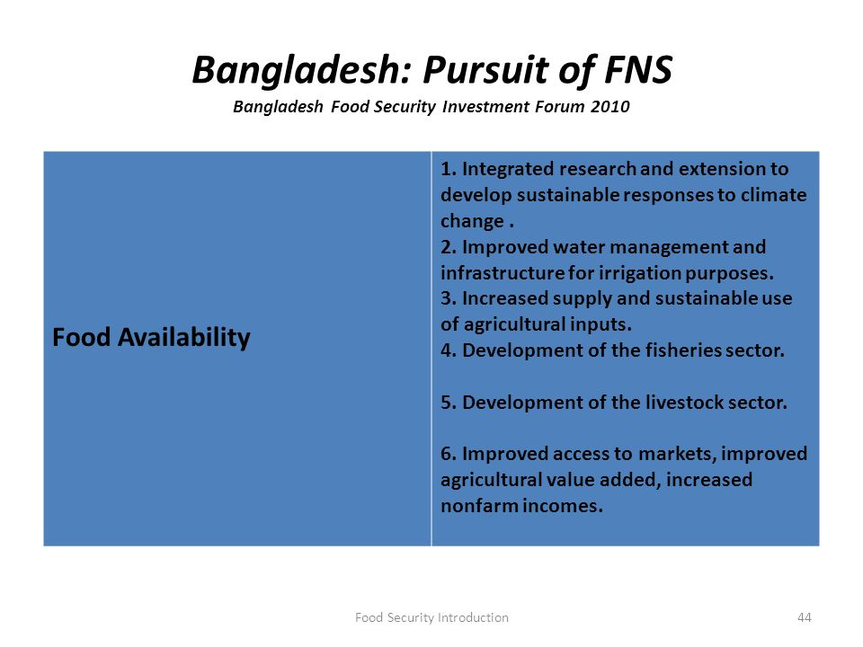 bangladesh food security Food security in bangladesh dr mahabub hossain one of the fundamental rights of the citizens stipulated in the bangladesh constitution is food security for all.