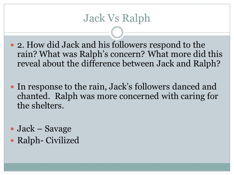 a comparison between jack and ralph in lord of the flies In lord of the flies by william golding the characters share many similarities and differences there is the oldest boy, ralph, who is the leader that likes to have order and assemblies then there is jack, who is extremely controlling and does not follow any of ralph's rules ralph expresses .