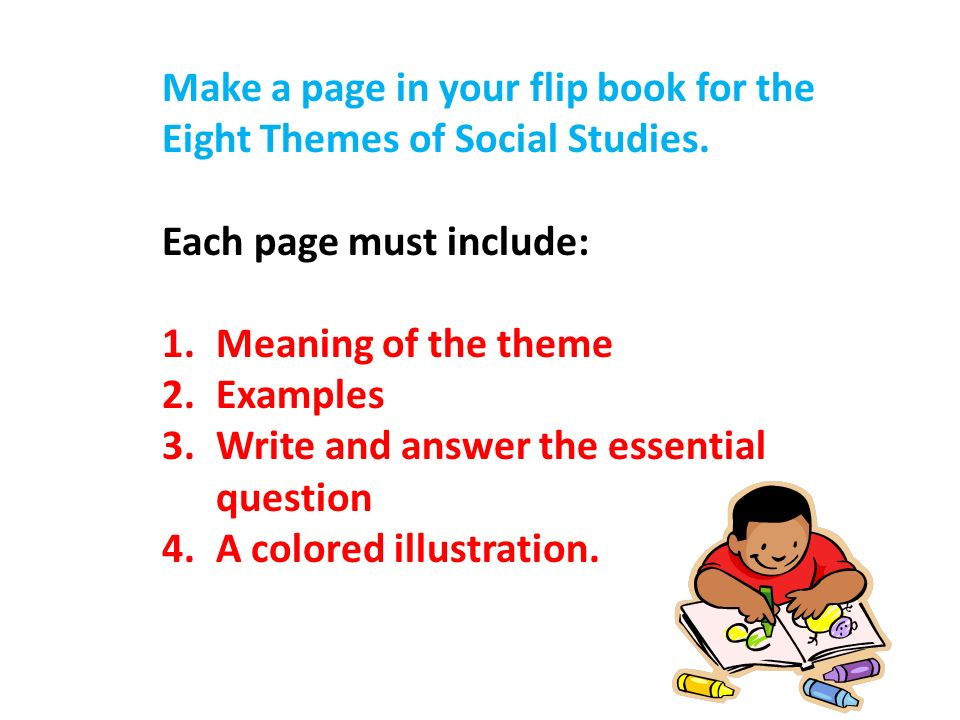 Make a page in your flip book for the Eight Themes of Social Studies.