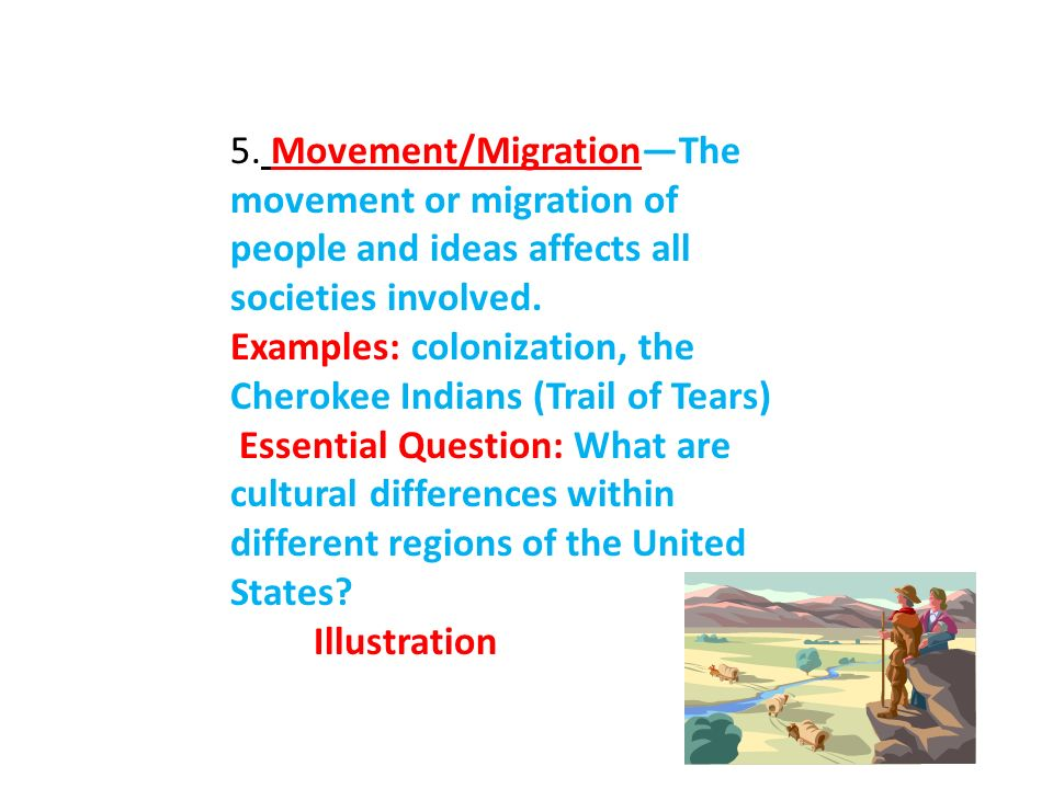 5. Movement/Migration—The movement or migration of people and ideas affects all societies involved.