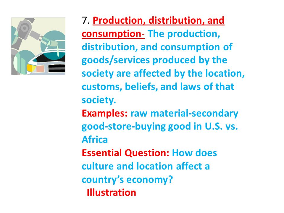 7. Production, distribution, and consumption- The production, distribution, and consumption of goods/services produced by the society are affected by the location, customs, beliefs, and laws of that society.