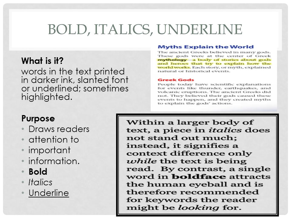 Text features intensive reading ppt video online download for Underline the table